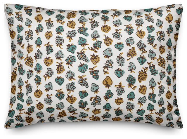 Blue Fruit Pattern Throw Pillow Farmhouse Decorative Pillows By Designs Direct