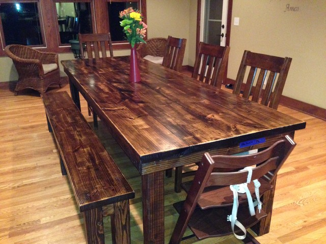 James 8 Farmhouse Table In Vintage Dark Walnut Stain Rustic