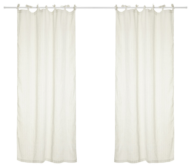 Hilary Linen Curtains With Tie Top And Vertical Stripes, Off-White And Natural.