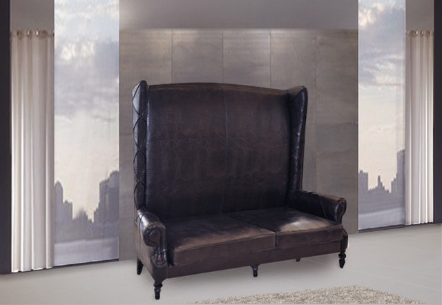 Vigo Chaise High Back Leather Love Seat