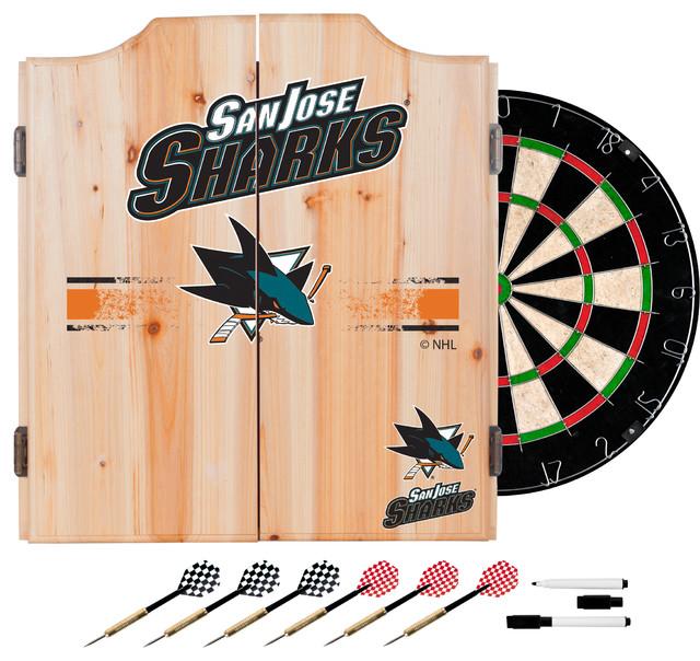 NHL Dart Cabinet Set With Darts And Board, San Jose Sharks