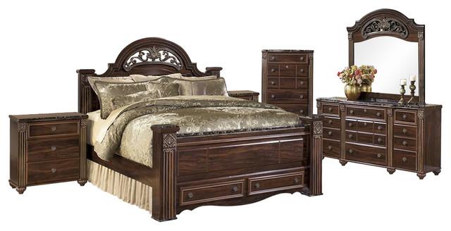 Peachy Ashley Gabriela 6 Piece Bedroom Set Storage Red Brown Interior Design Ideas Lukepblogthenellocom