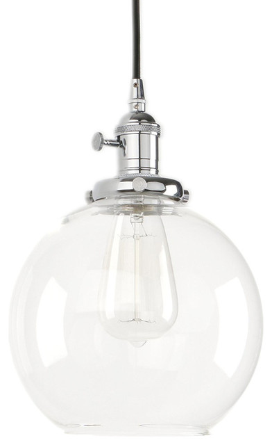 1 Light Vintage Clear Gl Hanging Pendant Chrome Lighting By Lami