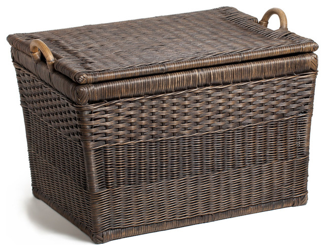 Lift-off Lid Wicker Storage Basket Antique Walnut Brown Large  sc 1 st  Houzz & Lift-off Lid Wicker Storage Basket - Decorative Trunks - by The ...