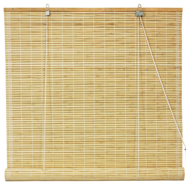 "Bamboo Roll Up Blinds, Natural, 24""x72""."