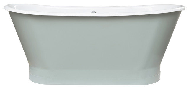 "67"" Gloria Cast Iron Freestanding Tub, Sage Green."