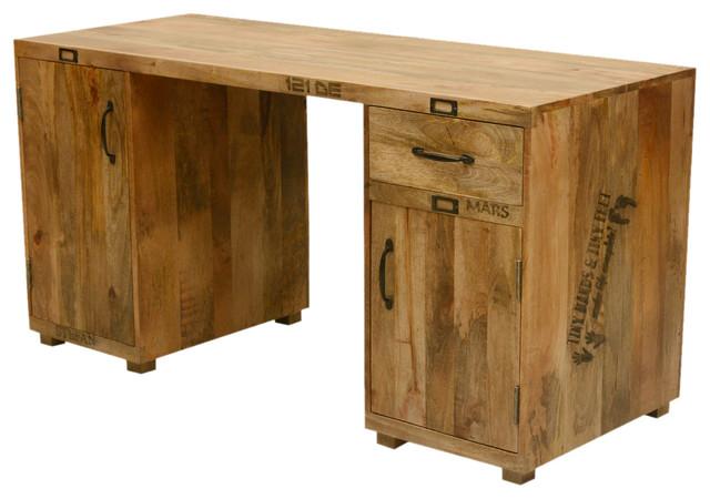 Sierra Living Concepts Tiny Hands Mango Wood 59 Long Pedestal Desk Work Station