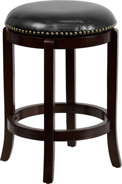 Roman Leather Swivel Bar Stool, Black and Cappuccino