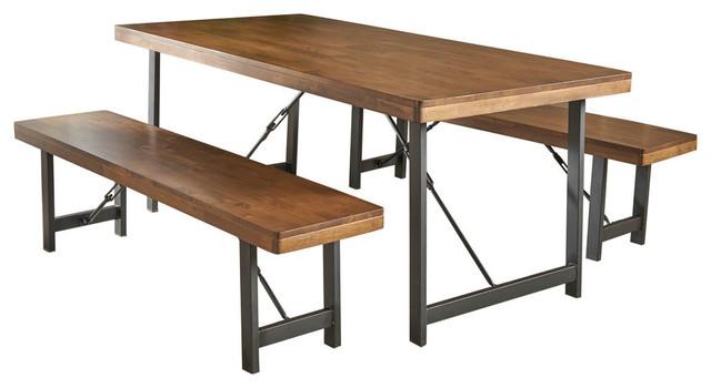 Pleasing Gdf Studio 3 Piece Blane Farmhouse Cottage Natural Walnut Table And Bench Set Machost Co Dining Chair Design Ideas Machostcouk