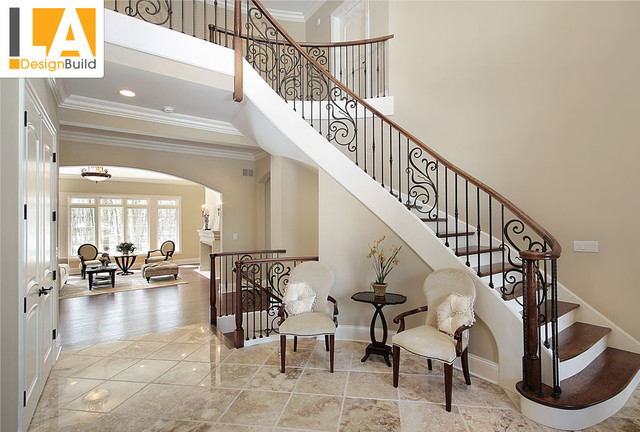 Living room mediterranean staircase los angeles by for New build living room designs
