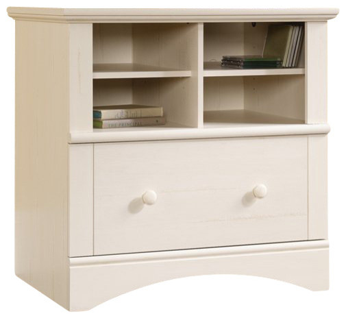 Sauder Harbor View 1-Drawer Lateral Wood File Cabinet in Antique White - Transitional - Filing ...