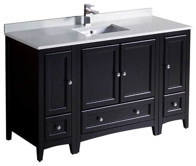 """Fresca Oxford 54"""" Espresso Traditional Cabinets With Top And Sink."""