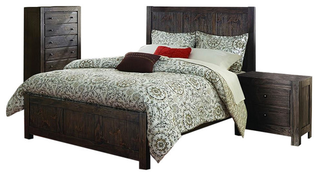 bedroom set in dark rustic pine transitional bedroom furniture sets