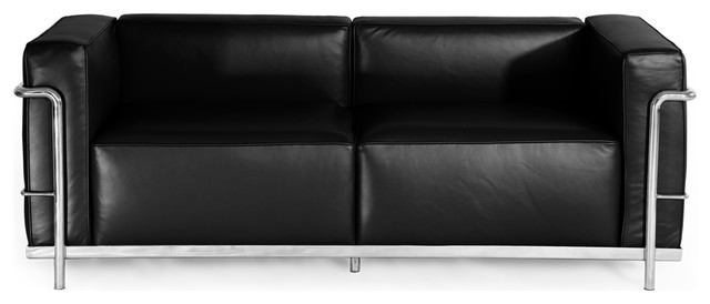 Roche Loveseat, Black, Material: Aniline Leather.