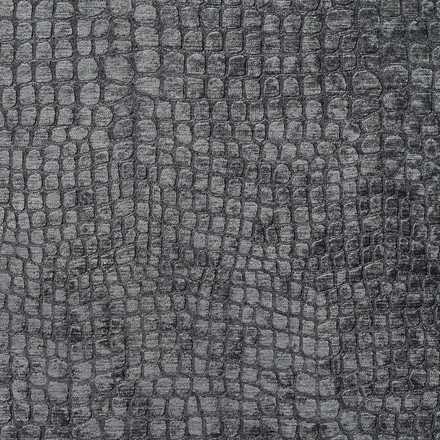 Grey Alligator Print Shiny Woven Velvet Upholstery Fabric By The