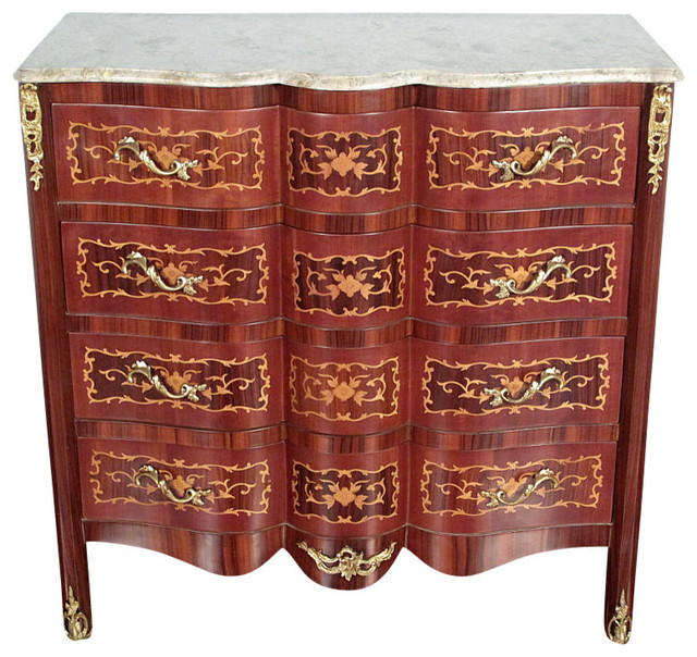 Consigned Antique Italian Style Mahogany Chest Dresser, Marble Top