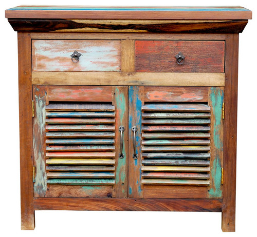 Chest with 2 Slatted Doors 2 Drawers made from Recycled Teak Wood Boats