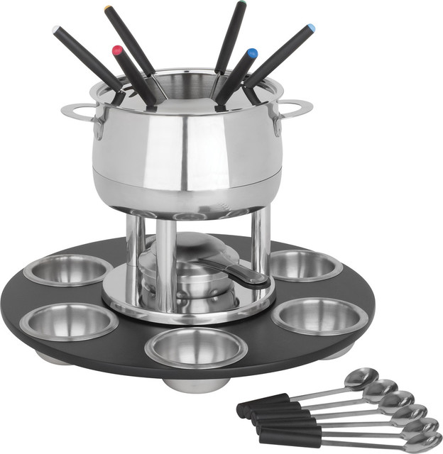 home presence 23 piecestainless steel lazy susan fondue set by trudeau view in your room. Black Bedroom Furniture Sets. Home Design Ideas