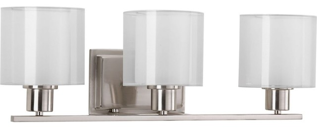 Progress Lighting Rizu Collection 3 Light Brushed Nickel: Invite Collection 3-Light Bath Light