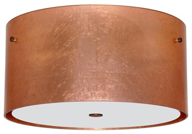 besa lighting 1km4008cfbr three light bronze drum shade flush mount flush - Besa Lighting