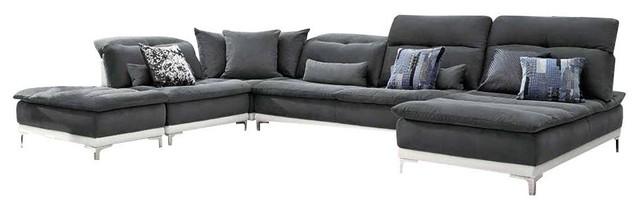 David Ferrari Horizon Modern Gray Fabric And Leather