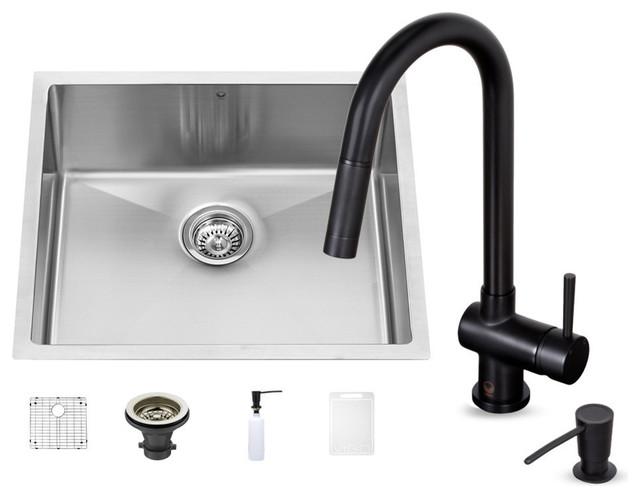 Vigo industries vigo 23 undermount single bowl kitchen - Black kitchen sink undermount ...