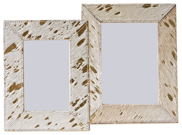 b1ed68e1dec4 Set of 2 Golden Cowhide Frames - Contemporary - Picture Frames - by Two s  Company