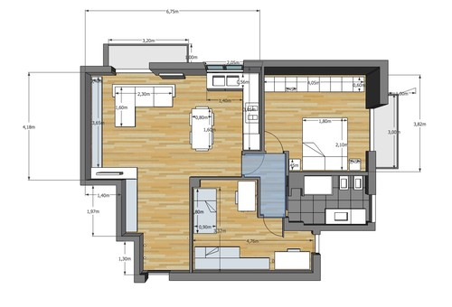 Idea per soggiorno e cucina di c.ca 40 mq