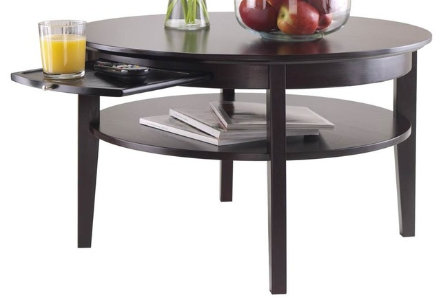 Http Www Houzz Com Photos 49122567 Round Coffee Table In Espresso Finish Transitional Coffee Tables