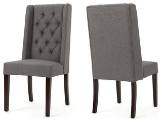 Billings Tufted Fabric High Back Dining Chairs, Set of 2, Dark Gray