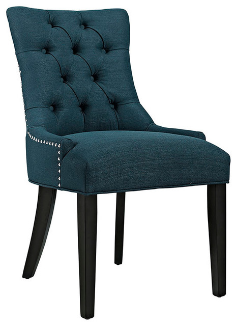 Fabric Dining Chairs Teal regent fabric dining chair - transitional - dining chairs -lexmod