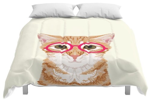 Society6 Ginger Cute Cat with Glasses Hipster Cat Art F Comforter, Full, 79