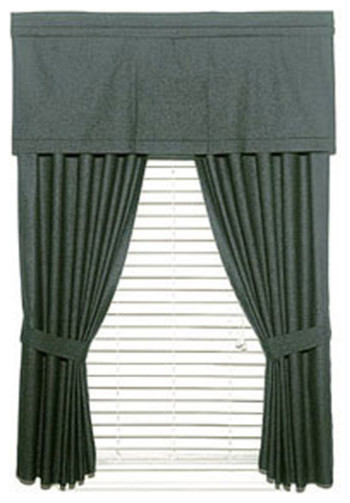 Green Curtains black green curtains : 2-Piece Solid Black Denim Window Drapery Panel Curtain Set ...