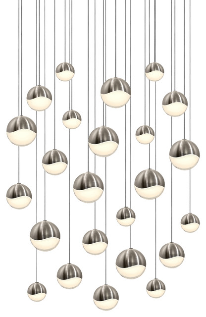 Grapes Led 24-Light Round Canopy Pendant, Satin Nickel, Assorted Grapes.