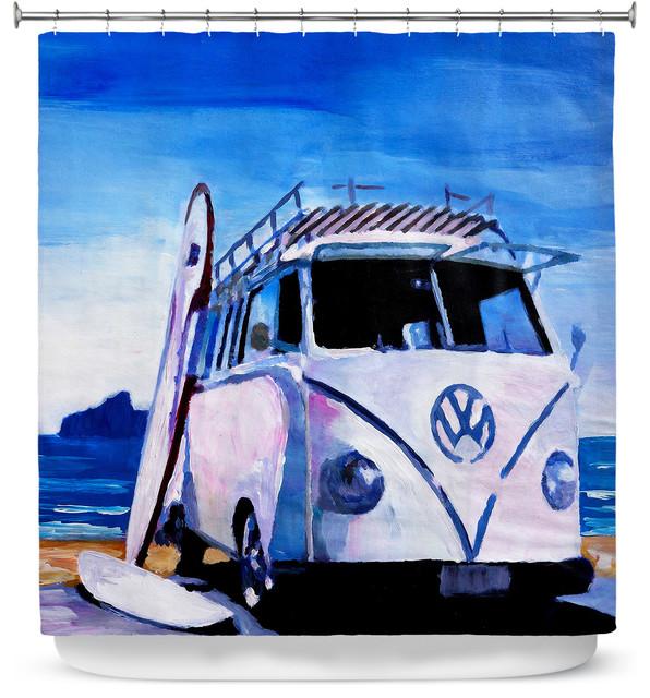 DiaNoche Designs Shower Curtain By Markus Bleichner The White VW Bus
