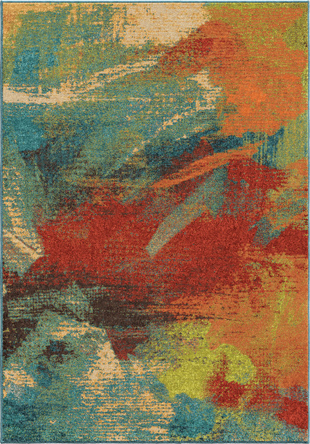 Indoor/outdoor Spoleto Abstract Impressions Area Rug, 5&x27;3x7&x27;6.