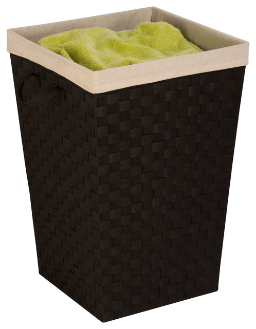 Woven Strap Hamper With Liner, Espresso Black.