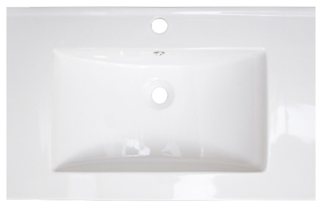 "Ceramic Top, White Color For Single Hole Faucet, 24""x18""."