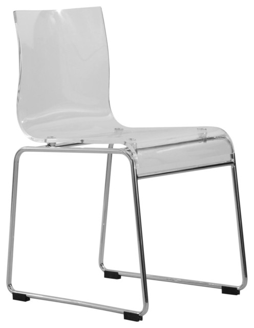 LeisureMod Lima Lucite Acrylic Dinin Side Chairs, Clear