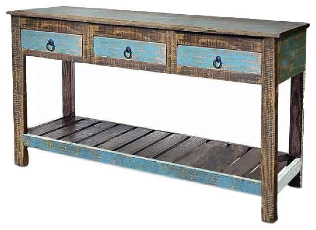Rustic Reclaimed Solid Wood Sofa Console Table Distressed Entry Way Table