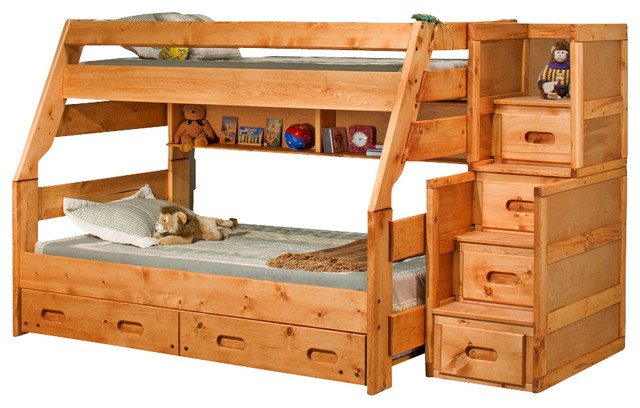 Chelsea Home Twin Over Full Bunk Bed Stairway Chest Traditional