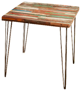 Reclaimed Bali Boat Wood End Table Side Table, Hairpin Legs