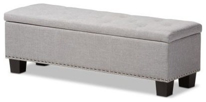 Grayish Beige Fabric Upholstered Button-Tufting Storage Ottoman Bench