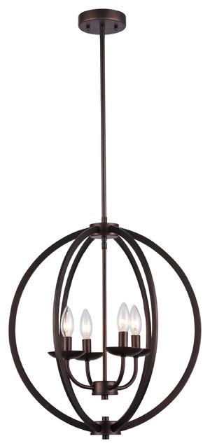 Industrial 4-Bulb Rubbed Bronze Pendant Light.