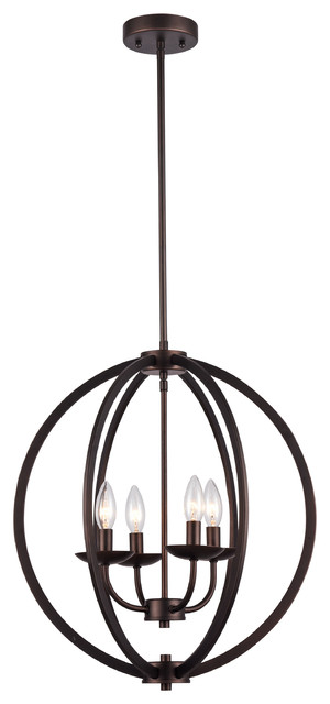 Industrial 4 Bulb Rubbed Bronze Pendant Light Transitional Lighting