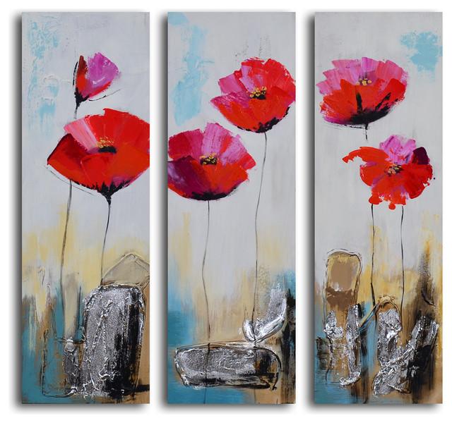 poppy rocks hand painted 3 piece canvas set contemporary prints