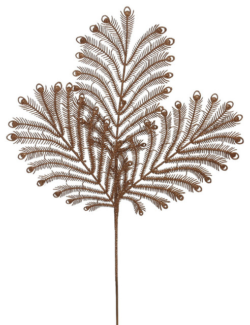 "Vickerman 22"" Copper Glitter Peacock Tail Artificial Christmas Spray 12 Per Bag"