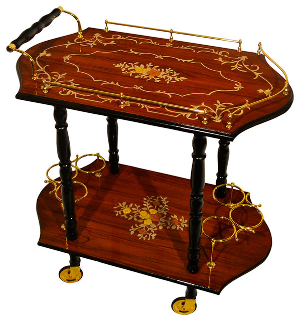 Soro Inspired Inlaid Wood Burl Toned Beverage Serving Cart Traditional Bar Carts By Three Star Import And Export