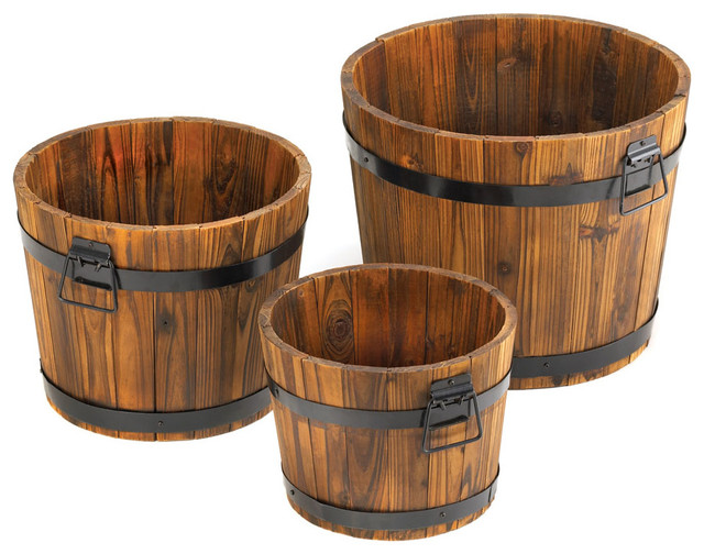 Country Barrel Planters Set of 3 Farmhouse Outdoor Pots And