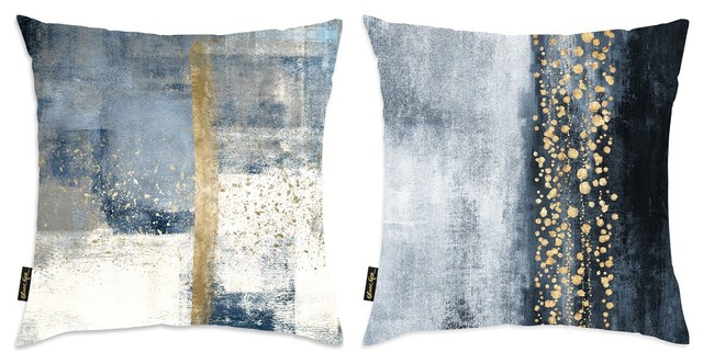 """2-Piece """"abstract Blue And Gold"""" 18""""x18"""" Pillow Set."""